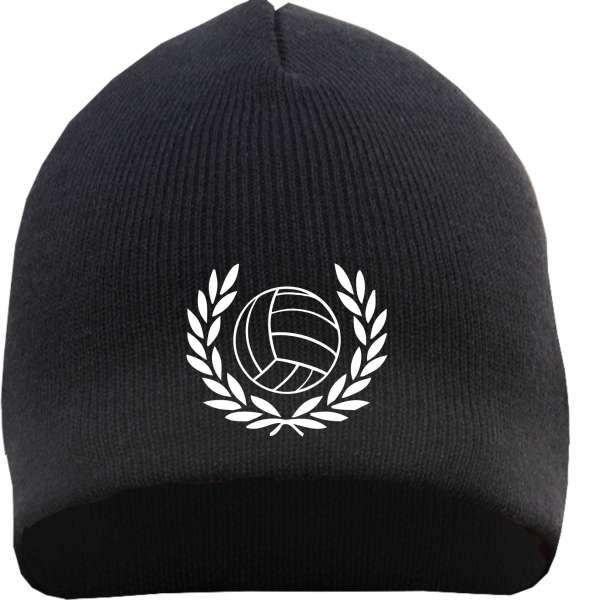 Lorbeerkranz mit Fußball Beanie Mütze - Bestickt - Strickmütze Wintermütze
