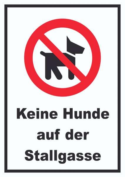 Keine Hunde auf der Stallgasse Schild