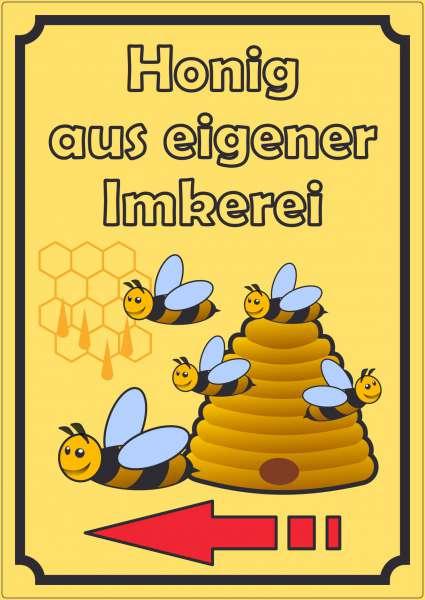 Werbeaufkleber Aufkleber Honig Hochkant mit Pfeil links