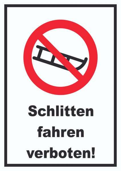 Schlitten fahren verboten Schild