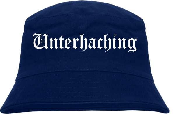 Unterhaching Fischerhut - Dunkelblau - Altdeutsch - bedruckt - Bucket Hat Anglerhut Hut