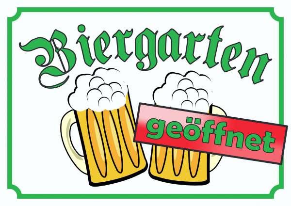 Biergarten geöffnet Schild