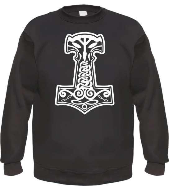Thorshammer Mjolnir Sweatshirt - bedruckt - Pullover Druck Weiß