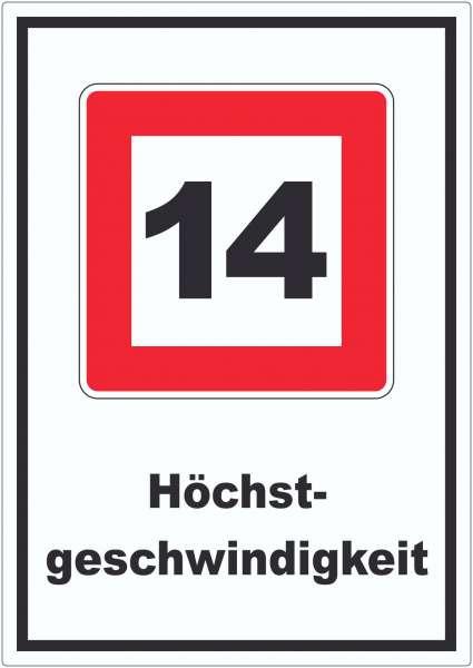 Höchstgeschwindigkeit 14 kmh nicht zu überschreiten Aufkleber mit Symbol und Text