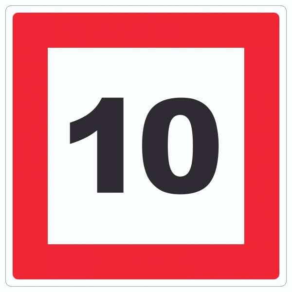 Höchstgeschwindigkeit 10 km/h nicht zu überschreiten Aufkleber Quadrat mit Symbol und Text