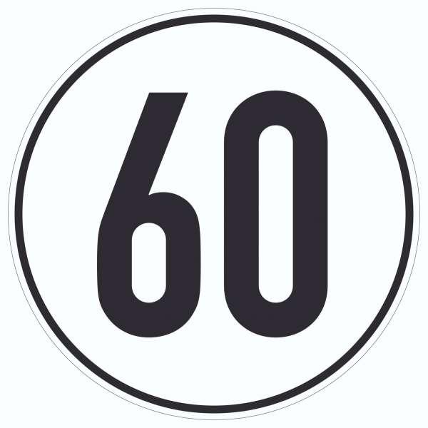 60km/h Geschwindigkeit Aufkleber Kreis