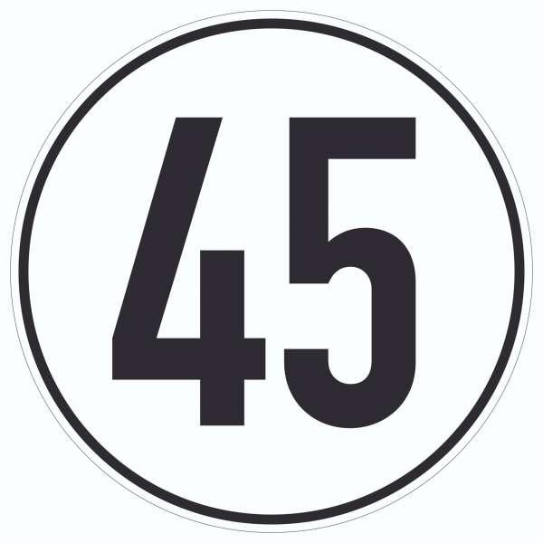 45km/h Geschwindigkeit Aufkleber Kreis
