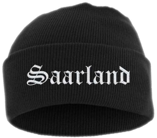 Saarland Umschlagmütze - Altdeutsch - Bestickt - Mütze mit breitem Umschlag