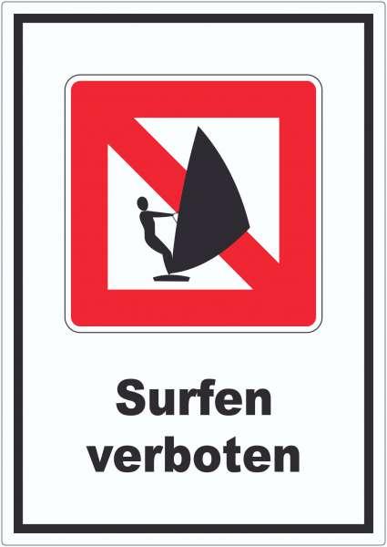 Windsurfen verboten Segelsurfen verboten Symbol und Text Aufkleber