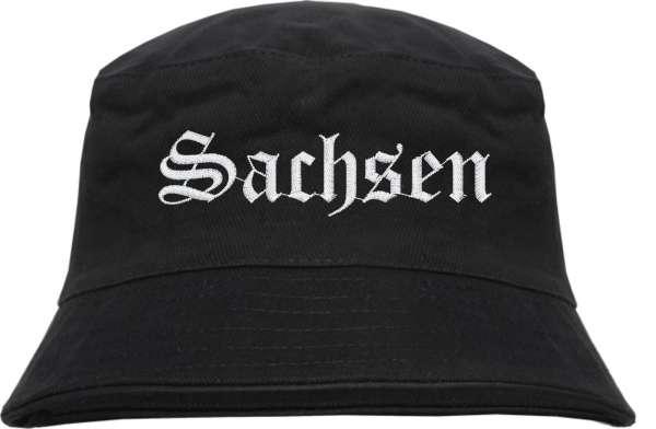 Sachsen Fischerhut - Altdeutsch - bestickt - Bucket Hat Anglerhut Hut