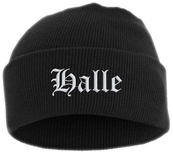 Halle Umschlagmütze - Altdeutsch - Bestickt - Mütze mit breitem Umschlag