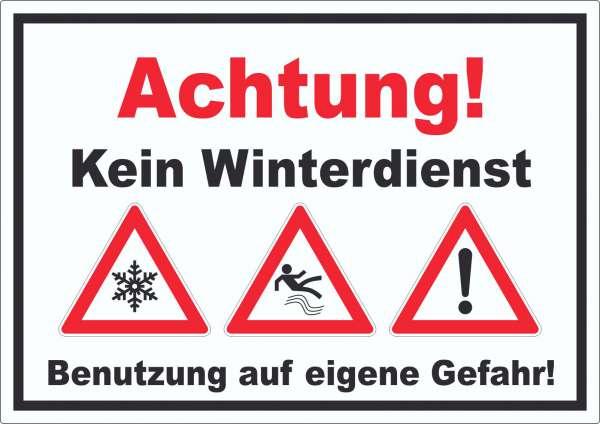 Achtung Kein Winterdienst Aufkleber