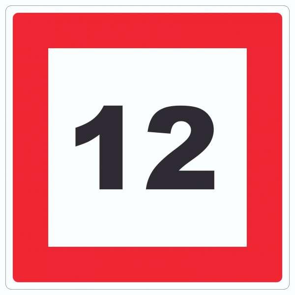 Höchstgeschwindigkeit 12 km/h nicht zu überschreiten Aufkleber Quadrat mit Symbol und Text