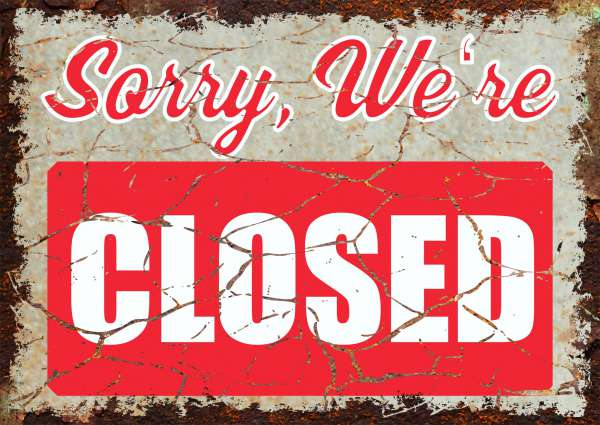 Sorry we are closed Deko Schild