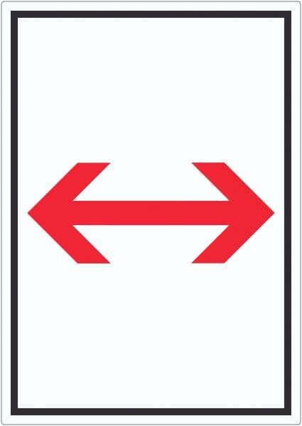 Richtungspfeil rechts links Aufkleber hochkant rot weiss schwarz Pfeil