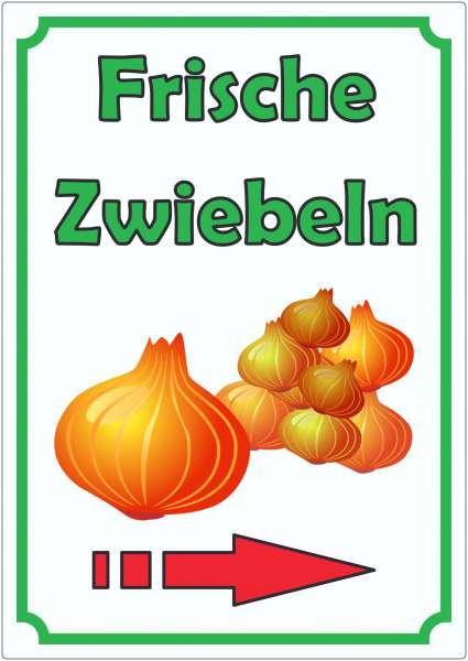 Werbeaufkleber Aufkleber Zwiebeln Hochkant mit Pfeil rechts