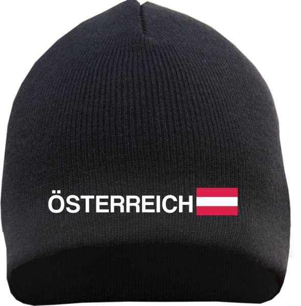 Österreich Beanie Mütze - Altdeutsch - Bestickt - Strickmütze Wintermütze