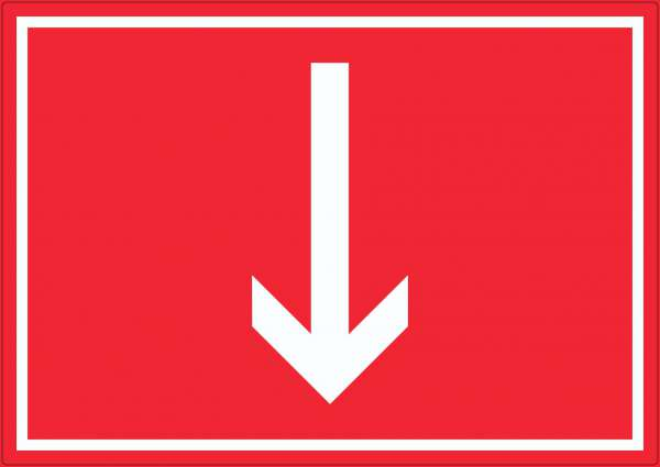 Richtungspfeil runter Aufkleber waagerecht weiss rot Pfeil