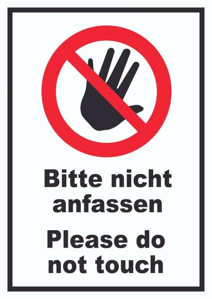 Bitte nicht anfassen Schild Do not touch