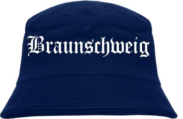 Braunschweig Fischerhut - Dunkelblau - Altdeutsch - bedruckt - Bucket Hat Anglerhut Hut