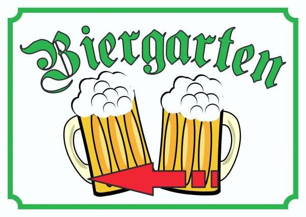 Biergarten Schild Pfeil links