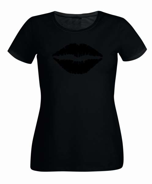 Kussmund schwarz Damen T-Shirt