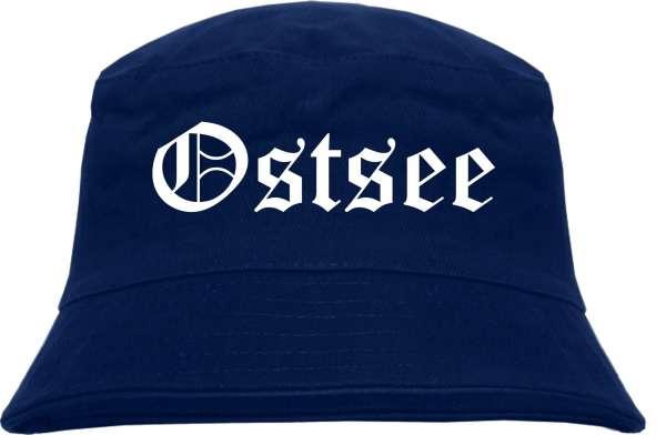 Ostsee Fischerhut - Dunkelblau - Altdeutsch - bedruckt - Bucket Hat Anglerhut Hut