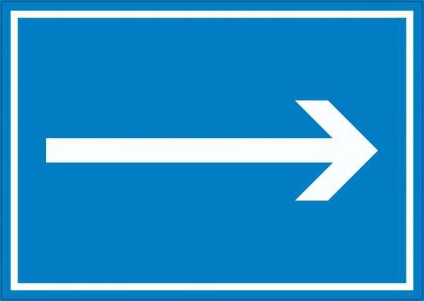 Richtungspfeil rechts Aufkleber waagerecht weiss blau Pfeil