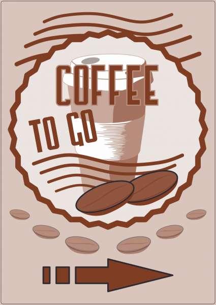 Werbeaufkleber Aufkleber Coffee to go Hochkant mit Pfeil rechts