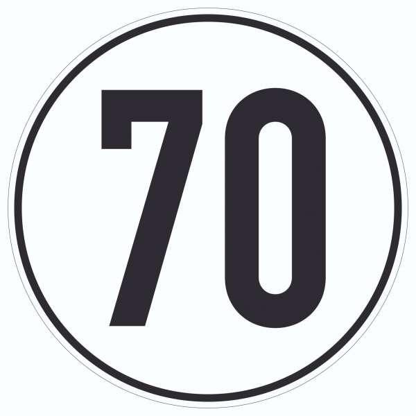70km/h Geschwindigkeit Aufkleber Kreis