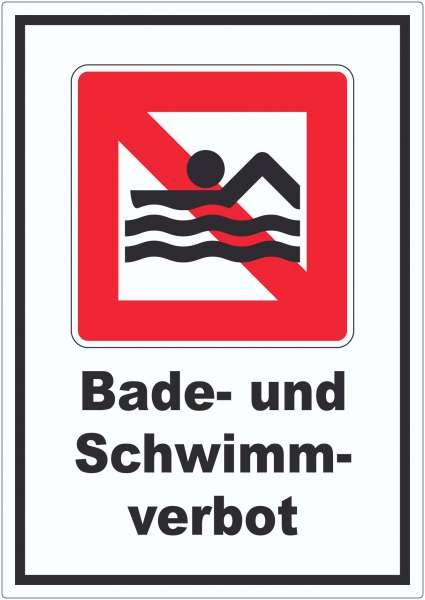 Schwimmen und Baden verboten Symbol und Text Aufkleber