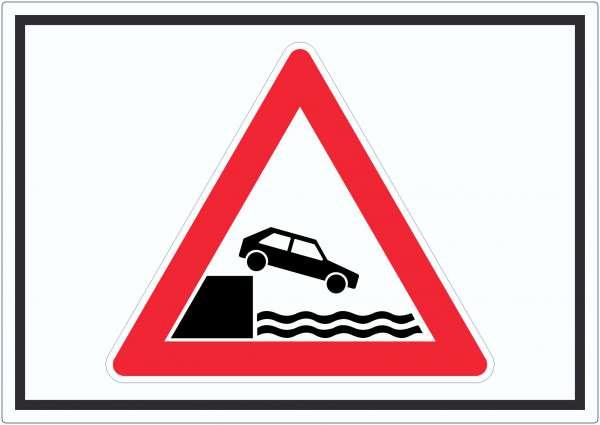Achtung Ufer Symbol Aufkleber