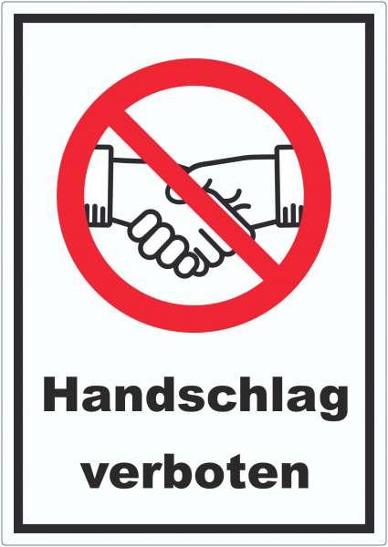 Handschlag verboten Aufkleber kein Händeschütteln Symbol und Text Aufkleber
