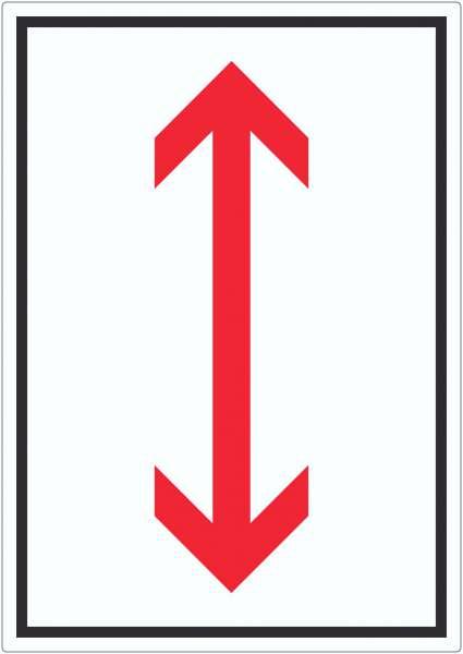 Richtungspfeil hoch runter Aufkleber hochkant rot weiss schwarz Pfeil