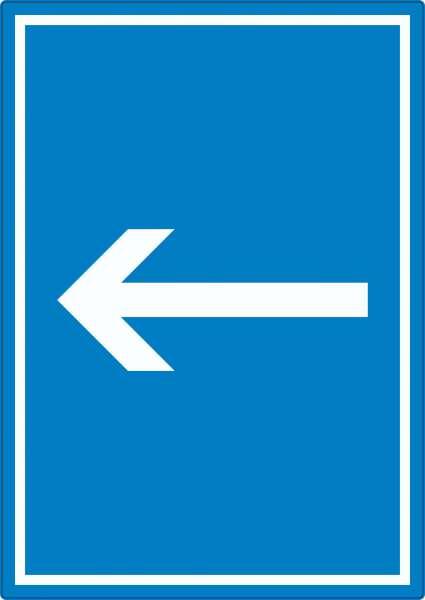 Richtungspfeil links Aufkleber hochkant weiss blau Pfeil