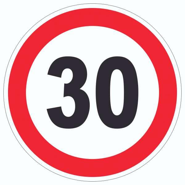 Tempo 30 km/h Geschwindigkeitsbegrenzung Aufkleber Kreis Symbol