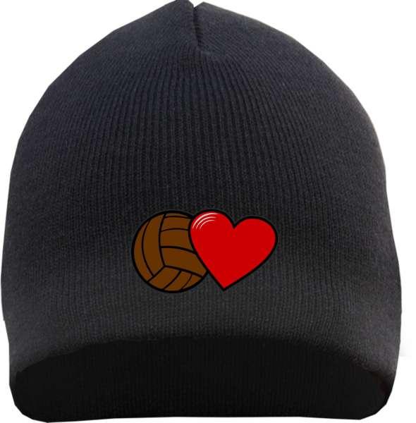 Fussball und Herz Beanie Mütze - Bestickt - Strickmütze Wintermütze