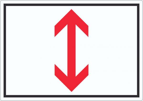 Richtungspfeil hoch und runter Aufkleber waagerecht rot weiss schwarz Pfeil