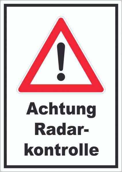 Achtung Radarkontrolle Aufkleber