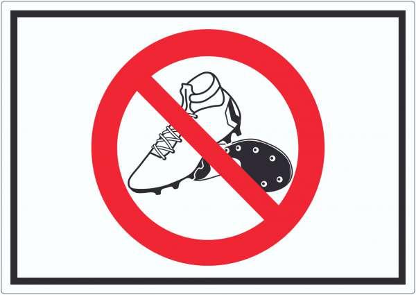Betreten mit Fussballschuhen verboten Symbol Aufkleber