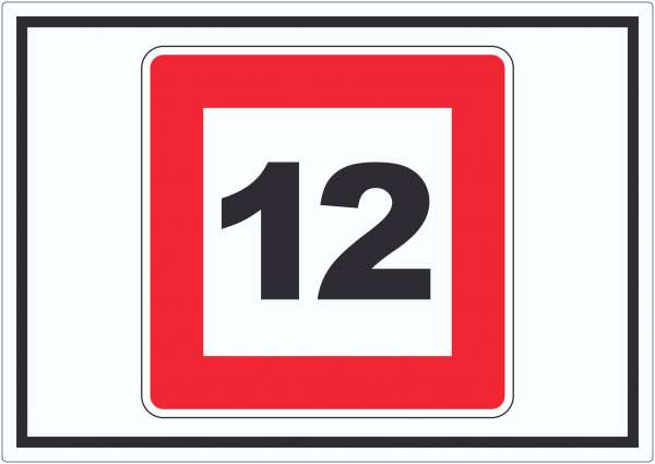 Höchstgeschwindigkeit 12 kmh nicht zu überschreiten Aufkleber mit Symbol