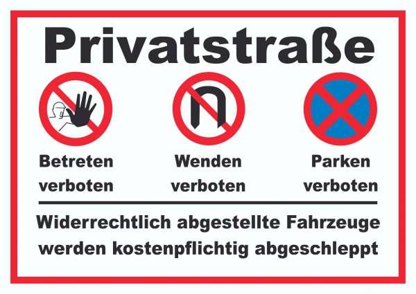 Privatstrasse Schild