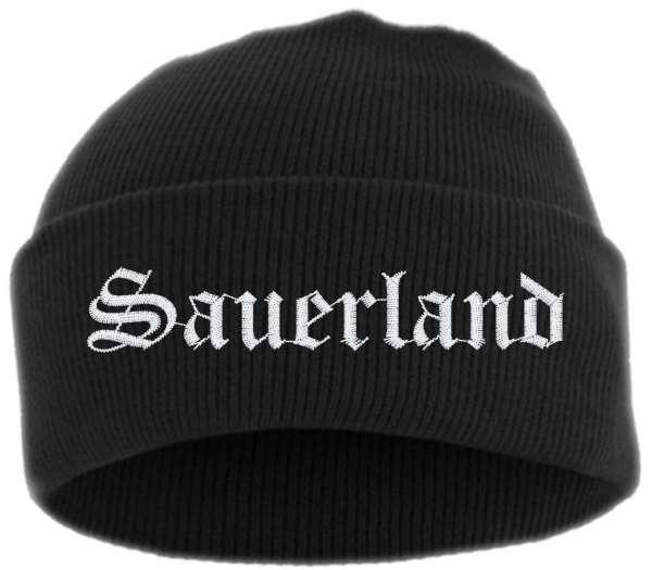 Sauerland Umschlagmütze - Altdeutsch - Bestickt - Mütze mit breitem Umschlag