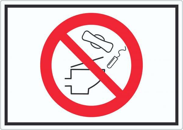 Keine Binden und Tampons ins WC werfen Symbol Aufkleber