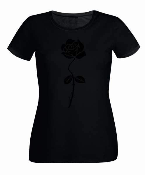 Rose Aufdruck schwarze Variante Damen T-Shirt