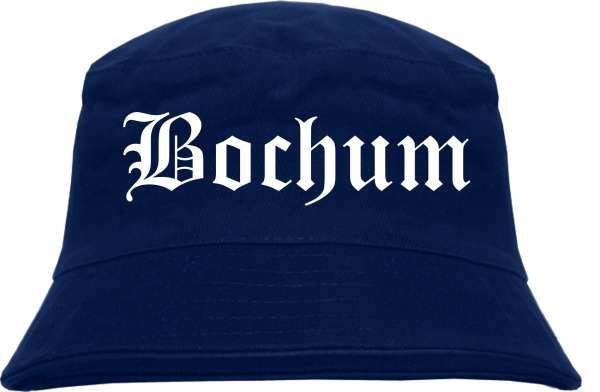 Bochum Fischerhut - Dunkelblau - Altdeutsch - bedruckt - Bucket Hat Anglerhut Hut