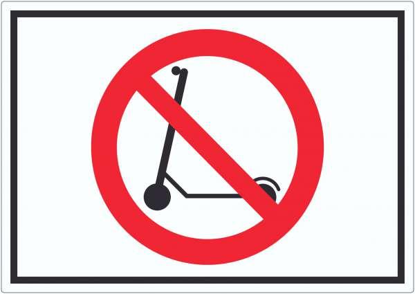 E- Scooter Abstellen verboten Symbol Aufkleber Elektro -Tretroller Roller