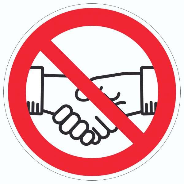 Handschlag verboten Aufkleber Kreis kein Händeschütteln Symbol Aufkleber Kreis