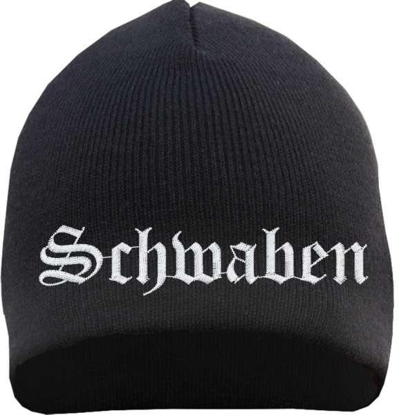 Schwaben Beanie Mütze - Altdeutsch - Bestickt - Strickmütze Wintermütze