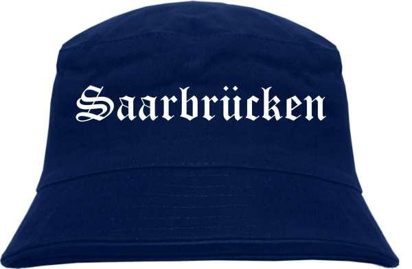 Saarbrücken Fischerhut - Dunkelblau - Altdeutsch - bedruckt - Bucket Hat Anglerhut Hut